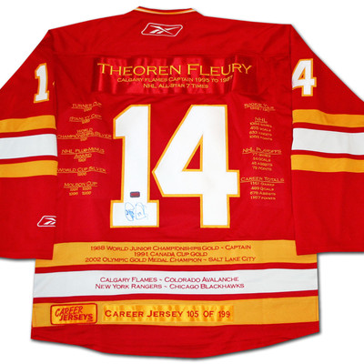 Theoren Fleury Career Jersey - Autographed - LTD ED 199 - Calgary Flames