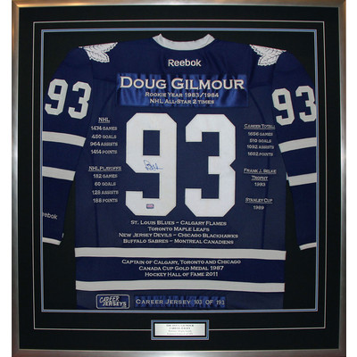 Doug Gilmour Framed Career Jersey - Signed - Ltd Ed 193 - Toronto Maple Leafs