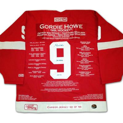 Gordie Howe Career Jersey - Autographed - LTD ED 199 - Detroit Red Wings
