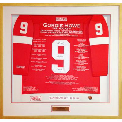 Gordie Howe Framed Career Jersey - Autographed - Ltd Ed 199 - Detroit Red Wings