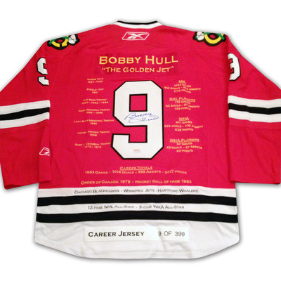 Bobby Hull Red Career Jersey - Autographed - LTD ED 399 - Chicago Blackhawks
