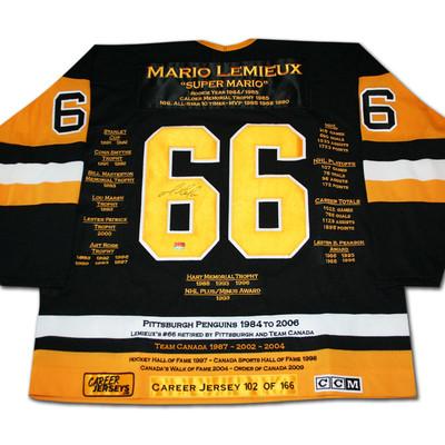 Mario Lemieux Career Jersey - Autographed - LTD ED 166 - Pittsburgh Penguins