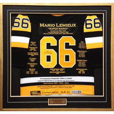 Mario Lemieux Framed Career Jersey - Signed - Ltd Ed 166 - Pittsburgh Penguins
