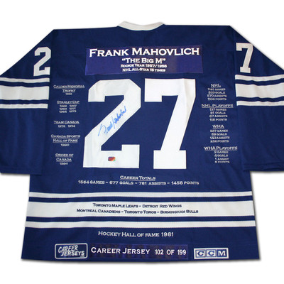 Frank Mahovlich Career Jersey - Autographed - LTD ED 199 - Toronto Maple Leafs