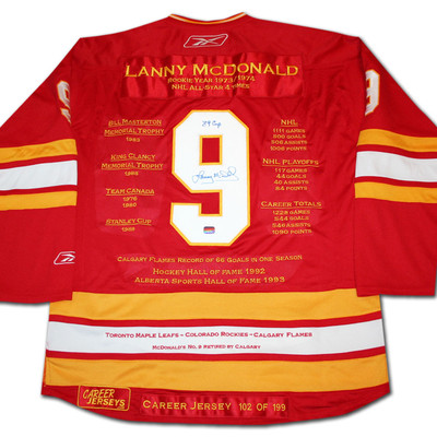 Lanny McDonald Career Jersey - Autographed - LTD ED 199 - Calgary Flames