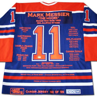 Mark Messier Career Jersey - Autographed - LTD ED 199 - Edmonton Oilers