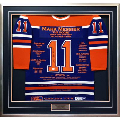 Mark Messier Framed Career Jersey - Autographed - Ltd Ed 199 - Edmonton Oilers
