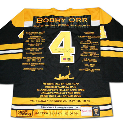 Bobby Orr Career Jersey - Autographed - LTD ED 144 - Boston Bruins