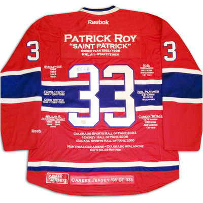 Patrick Roy Career Jersey - Autographed - LTD ED 333 - Montreal Canadiens