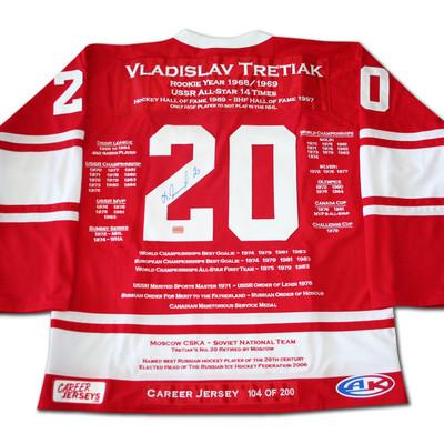Vladislav Tretiak Career Jersey - Autographed - LTD ED 200 - USSR