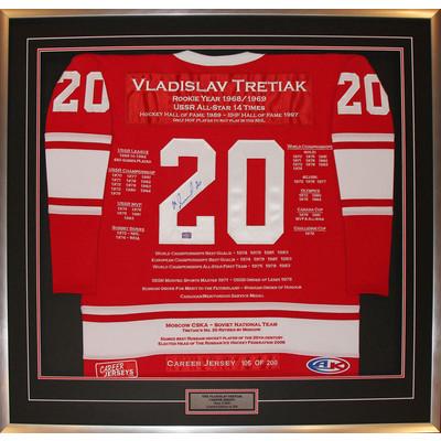 Vladislav Tretiak Framed Career Jersey - Autographed - Ltd Ed 200 - USSR