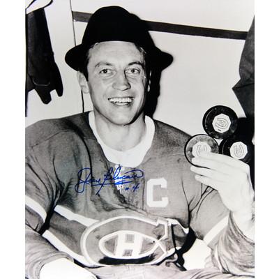 Jean Beliveau 11X14 Autographed Photograph - Montreal Canadiens (Hat Trick)