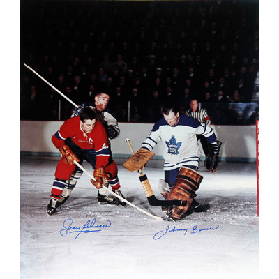 Jean Beliveau & Johnny Bower Signed Photo - TO Maple Leafs - MTL Canadiens