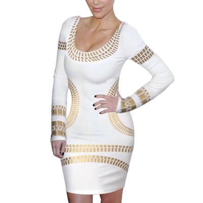 Celebrity Kim Egypt Gold Foil Print Long Sleeve Bodycon Dress