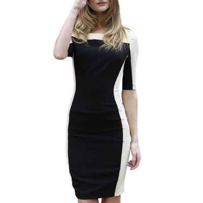Black & White Half Sleeve Slim Pencil Dress