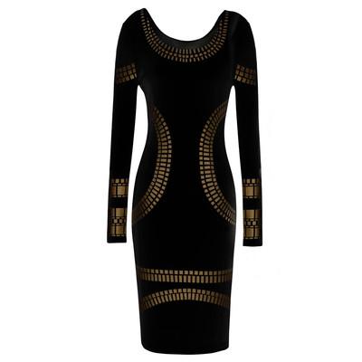 Black Celebrity Kim Egypt Gold Foil Print Long Sleeve Bodycon Dress