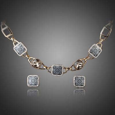 18K Gold Plated Ash Grey Jewellery Set