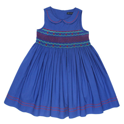 Hilda Smocked Lawn Dress in Blue
