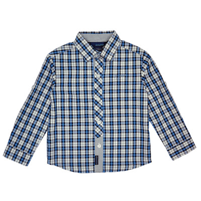 Quant Long Sleeve Checkered Polo in Blue