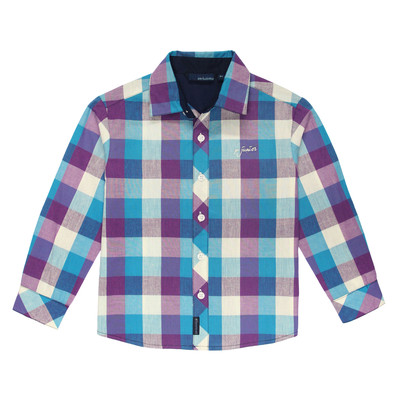 Radik Long Sleeve Checkered Polo in Violet