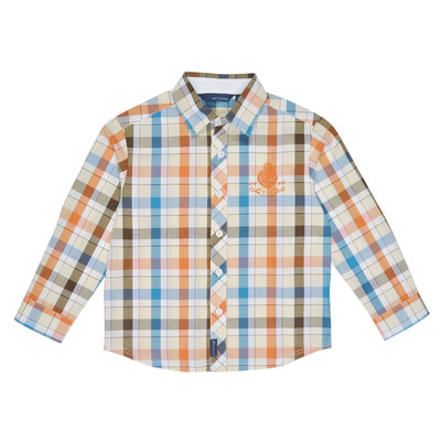 Rash Long Sleeve Checkered Polo in Orange and Blue