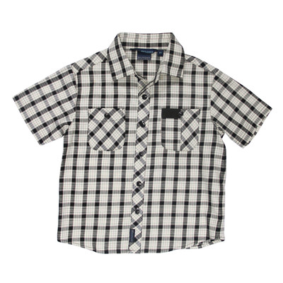 Rhett Short Sleeve Checkered Polo in Black