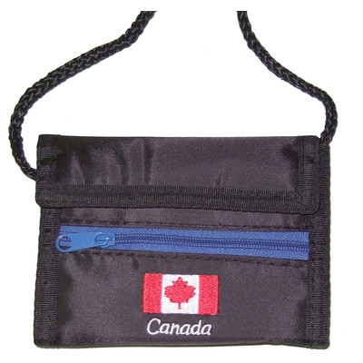 Nylon sport wallets with Canada flag logo Black
