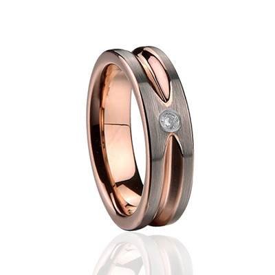 Eliza Tungsen Carbide 8mm Ring, Inlaid With Yellow Gold Plating In Side And Out.  Set With A Cubic Zirconia.