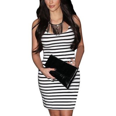 Celebrity Black stripe Slim Fit Pencil Casual Dress,Vest Dress