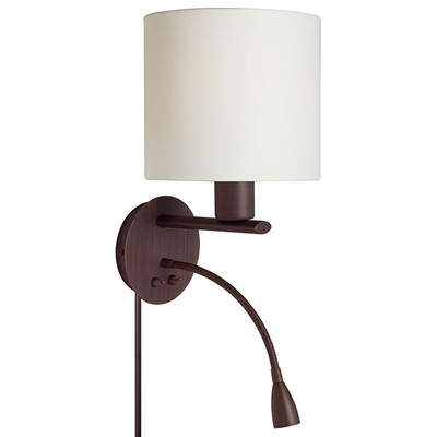 Wall Sconce with Gooseneck LED Reading Lamp - Oil Brushed Bronze with Cream Shade