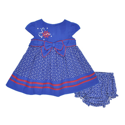 Helga Infant Dress w/ Panty Printed Lawn Dress in Blue
