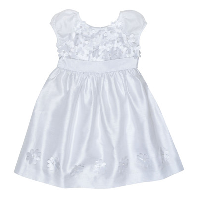 Udell Party dress with applique flowers in White