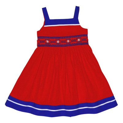 Helma Smocked Dress in Red