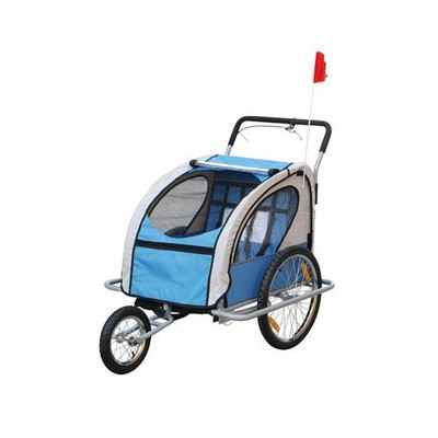 2 in 1 Children's Bicycle Trailer & Stroller - Blue/Grey
