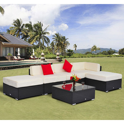 6 pc. Deluxe Wicker Rattan Patio Set Collection