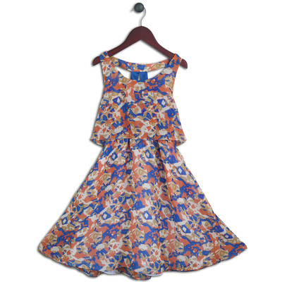 Joe-Ella 1pc Girls' Chiffon Watercolour Dress with Back Detail
