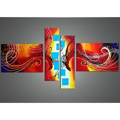 Modern Home Deco Orange & Blue Squares- 64 x 34 in