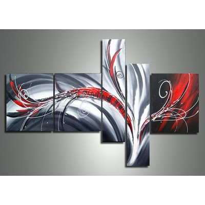 Hand Painted Abstract Red and Grey Painting- 64 x 34 in