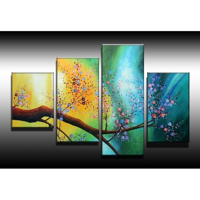 Large Modern Floral Canvas Oil Painting - 48 x36 in