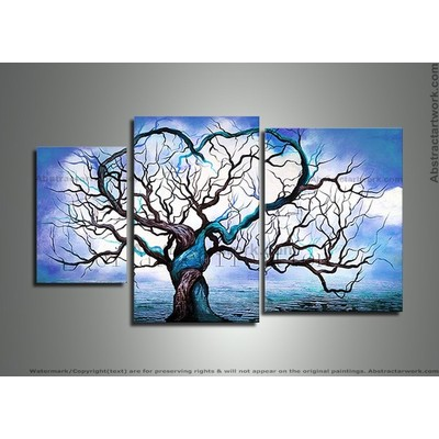 Hand Painted Blue Love Tree Painting-46 x 28in
