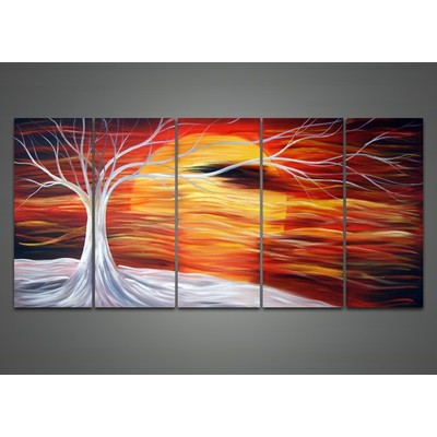 Modern Orange Moon Hand Painted Oil Painting--60 x 32in