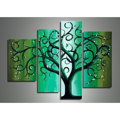 Modern Green Tree Oil Painting on Canvas-47.2 x 36in
