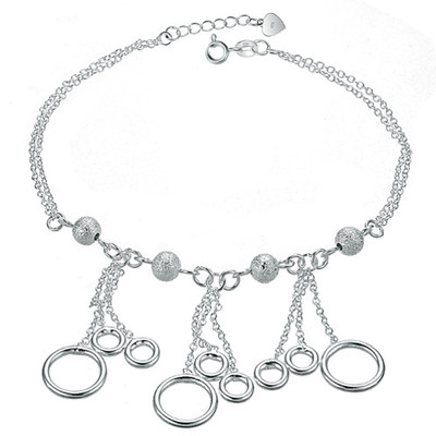 Silver Plated Ring Charm Anklet