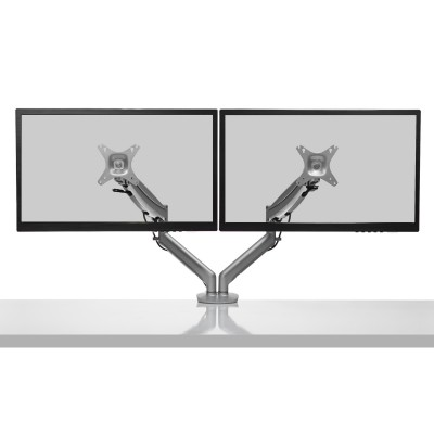 Kanto DMG2000S Dual-Monitor Desktop Mount for 17-inch to 27-inch Displays - Silver