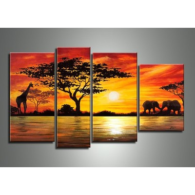African Painting - Large Landscape Wall Art -  52 x 30 in