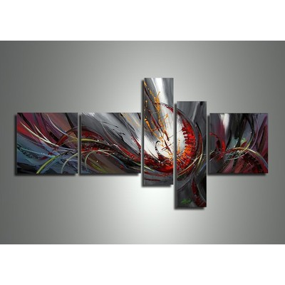 Purple Red and Grey Abstract Painting- 66 x 36 in