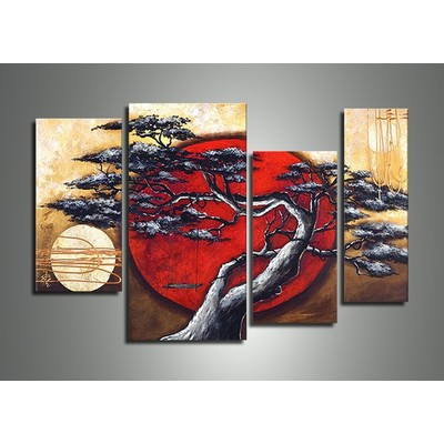 Hand Painted Japanese Tree Oil Painting  - 40 x 32in