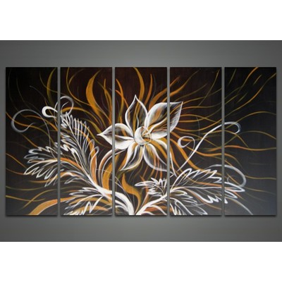 Modern Black Flower Painting - 60 x 32 in