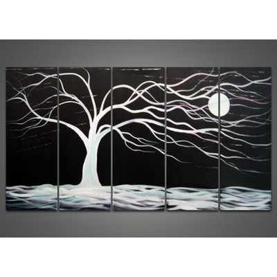 Abstract Black Tree Canvas paintings-  60 x 32 in