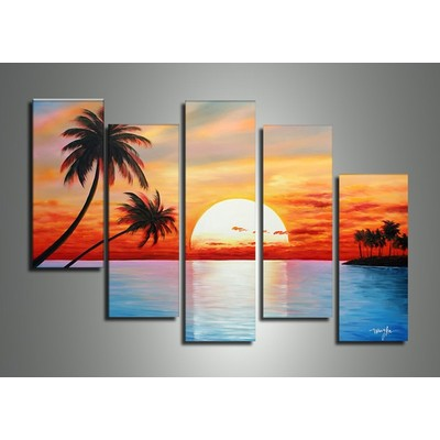 Tropical Sunset Painting - 40 x 34 in